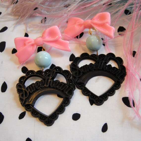 Black Teal and Pink Sweetheart Earrings