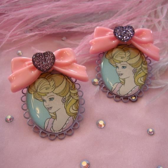 Bouffant Barbie Cameo Earrings