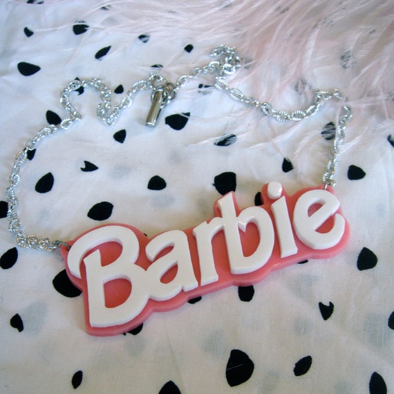 Pink and White Acrylic BARBIE Necklace