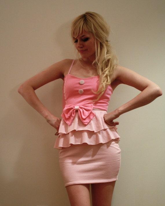 Pink Ruffle, Lace and Bow Dress
