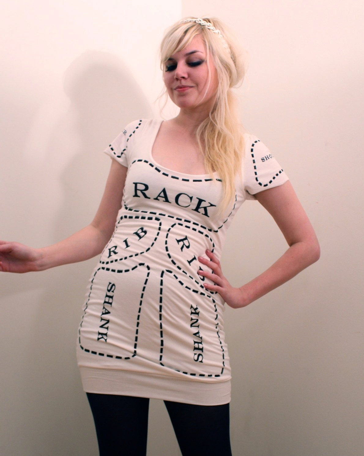 Creme Cuts of Meat Dress Made