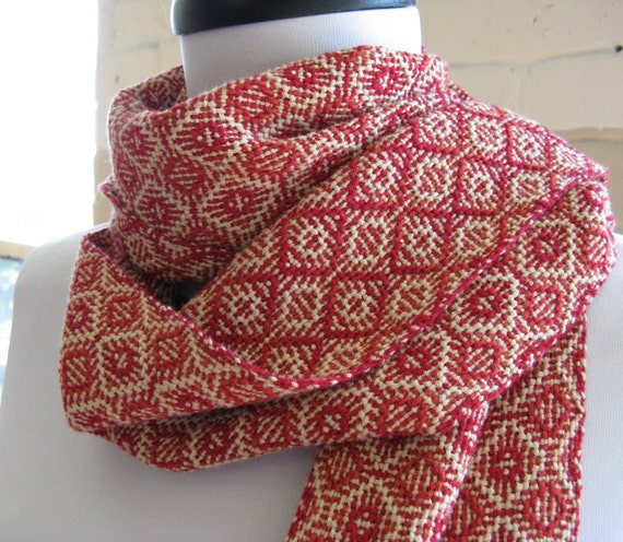 Persimmon Red Handwoven Scarf