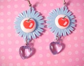 Happy Apples Dangle Earrings Blue Heart Kitsch
