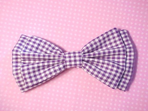 Purple and White Gingham Large Old School Hairbow
