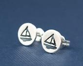 Nautical Jewelry , Sailboat Stud Earrings ,Sterling Silver Boat Earrings