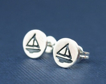 Nautical Jewelry , Sailboat Stud Earrings ,Sterling Silver Boat Earrings