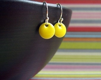 Yellow Itty Bitty Dot Earrings, Womens Jewelry, Girls Jewelry, Small Earrings, Dangle Earrings, Yellow Jewelry