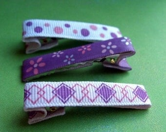 Girls Purple Flower Hair Clips, Hair Accessories, Barrettes, Alligator Clips, Ribbon Covered Clips, Girls Gift Set, Hair Care, Hair Clip