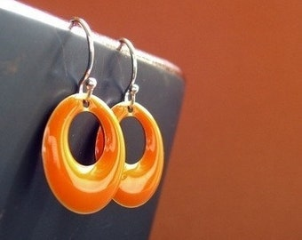 You're All Over Town, Orange Hoop Earrings - Tangerine Earrings, Drop Earrings, Dangle Earrings, Orange Jewelry, Swing Jewelry, Mod Earrings