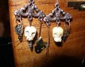 Steampunk Skull Earrings - SpookyCuteTeam,  trashionteam, Halloween24/7, paganteam,  etsyBead, WWWG