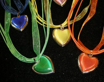 Catseye locket, ribbon and cord necklace - many color choices,   WWWG, etsyBead, paganteam, olyteam, CouchSurfingTeam