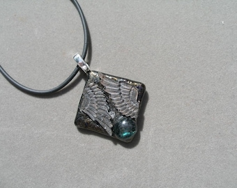 Glass pendant, fused, recycled -- only one now available  -- trashionteam, etsyBead, olyteam, WWWG, paganteam