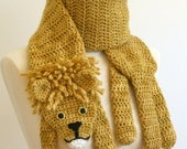 SALE - Lion Scarf - Handmade - Crocheted - Animal Scarf Fashion Statement