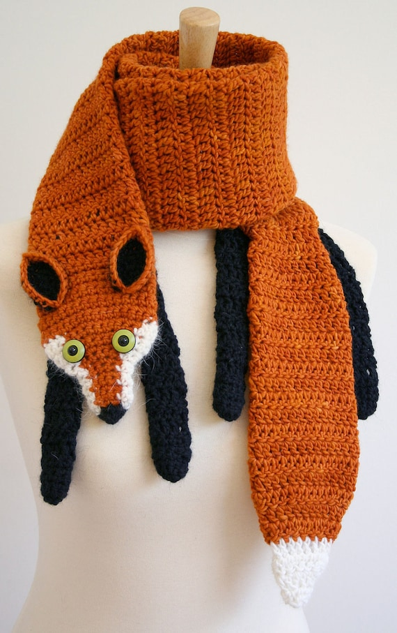 PDF Pattern for Fox Scarf - Crochet Pattern - Animal Scarf