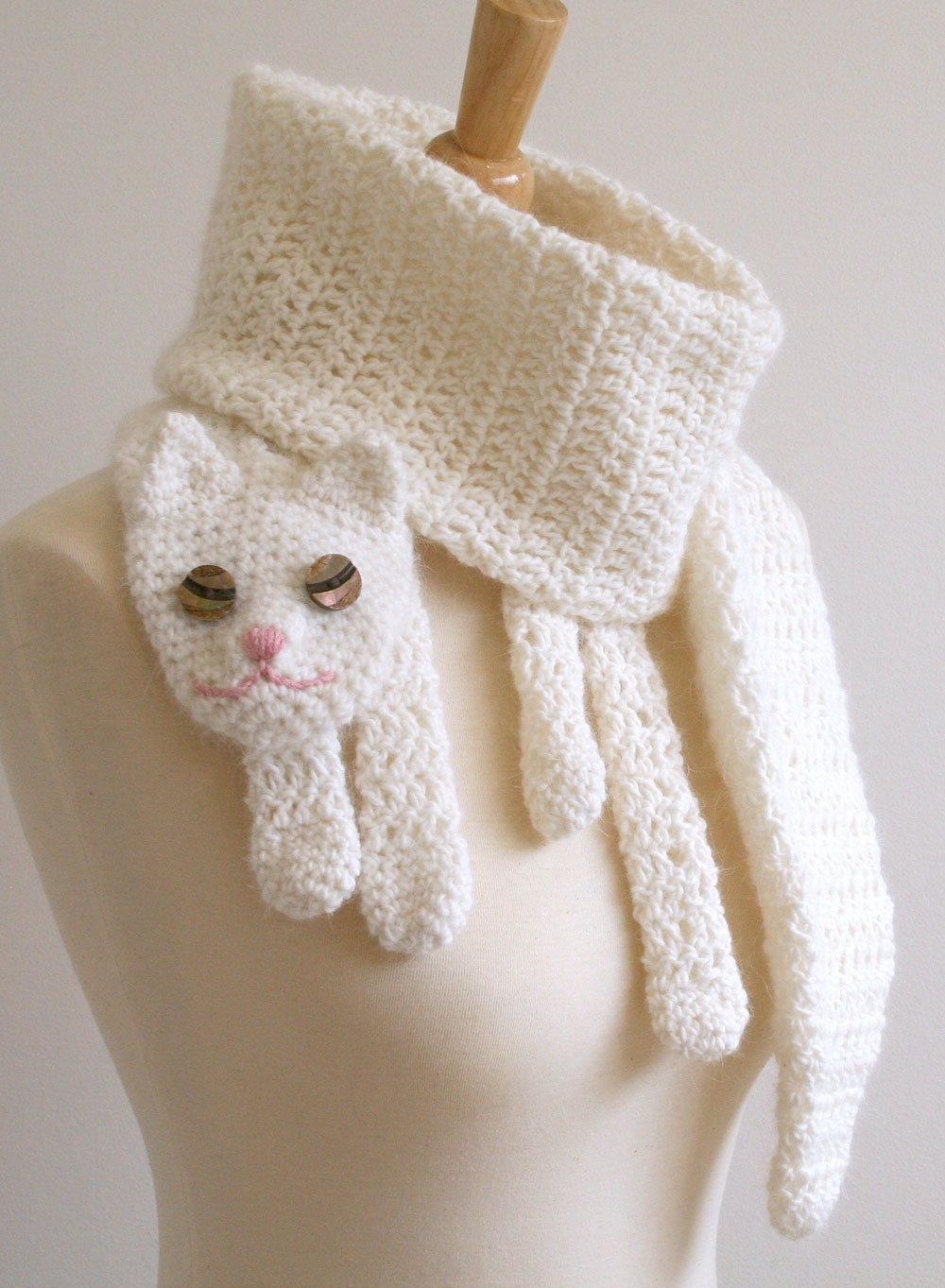 Cat Cuddler Scarf  Handmade  Crocheted  Animal Scarf Fashion  Crochet Animal Scarves For Kids