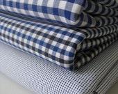 Egyptian cotton shirting \/\/ Royal blue gingham \/\/ Royal blue\/black small check \/\/ Royal blue\/white corona (3 pieces)