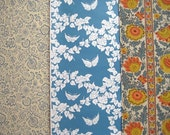 Vintage Wallpaper \/\/ Dusty Floral \/\/ Wedgewood Blue Butterflies \/\/ Tangerine Floral Stripe (3 pieces)