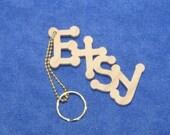 Wooden Etsy Keychain