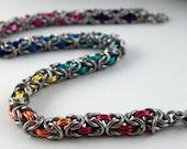 Delicate Chainmaille Bracelet - Rainbow Byzantine Bracelet