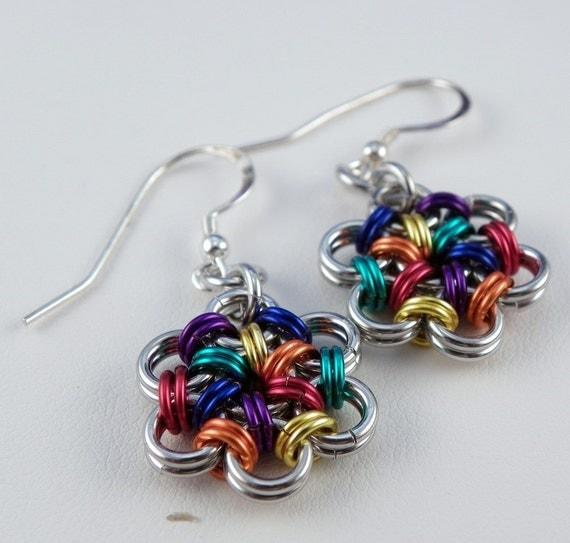 Flower Earrings - Chainmaille Earrings - Rainbow Earrings - Rainbow Chainmail Jewelry - Daisy Earrings - Japanese 12 by 2 Weave