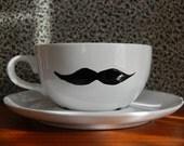 Moustache Tea Cup and Saucer - White Vintage