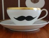 Moustache Tea Cup and Saucer - Gold Rim