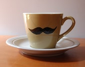 Moustache Tea Cup and Saucer - Greeny Brown