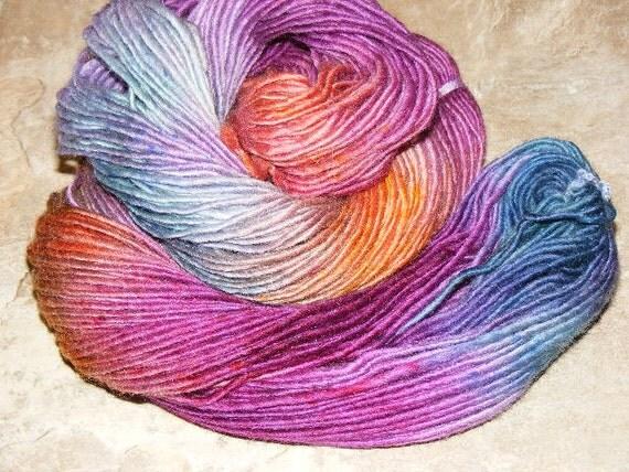 Sundowner...handspun, handpainted woo/mohairl yarn...4oz...189yd