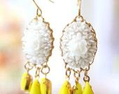 White Rose Chandelier Earrings