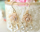 Mini Rose Chandeliers, Beige rose chandeliers, Rose earrings, Bridal Rose earrings, Romantic earrings