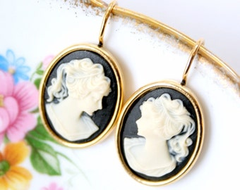 Black Cameo Earrings
