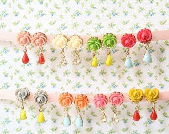 Flower Post earrings, Rose earrings, colorful post earrings, rose posts, vintage style earrings, flower post earrings