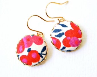 Liberty  Fabric Button Earrings