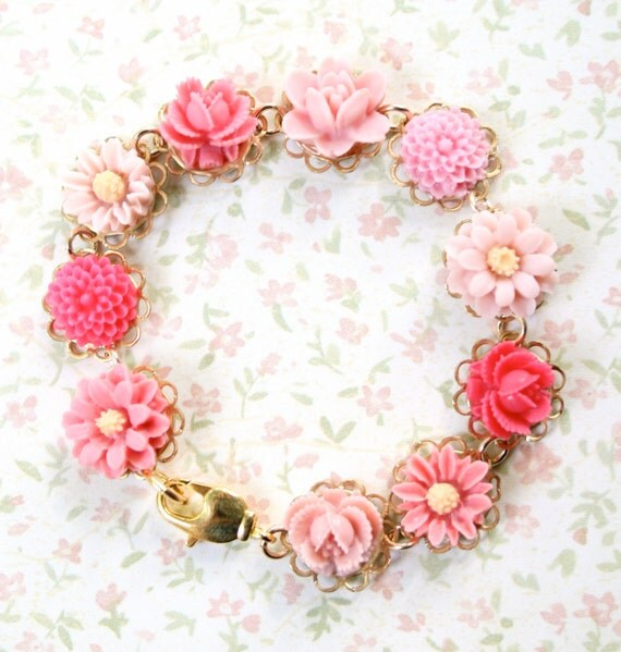 Reserved for Kathy- Perfectly Pink floral charm Bracelet