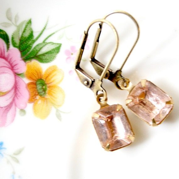 Smoky Rose Dangle Earrings