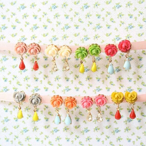 Six Post earrings, Bridesmaids party gift, colorful post earrings, rose posts, vintage style earrings, flower post earrings