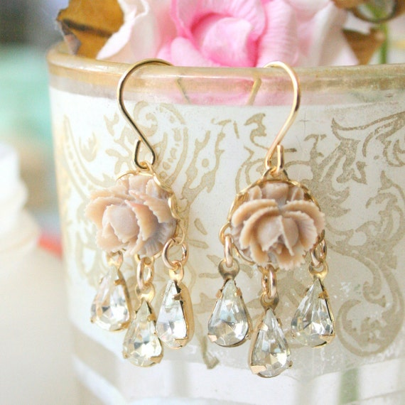 Mini Rose Chandeliers, Beige rose chandeliers, Rose earrings, Bridal Rose earrings, Romantic earrings