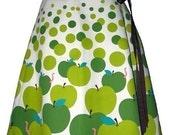 apple pickin' skirt - granny smith - cute hand screen printed playful polkadot wrap-around