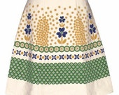 polish pottery skirt - green -  hand screen print inspired by traditional stoneware patterns