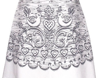 wood carving skirt - white birch - carved wood print with folk birds, hearts and berries