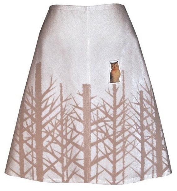 winter woods skirt - snow white - bare trees hand screen printed velveteen with owl brooch