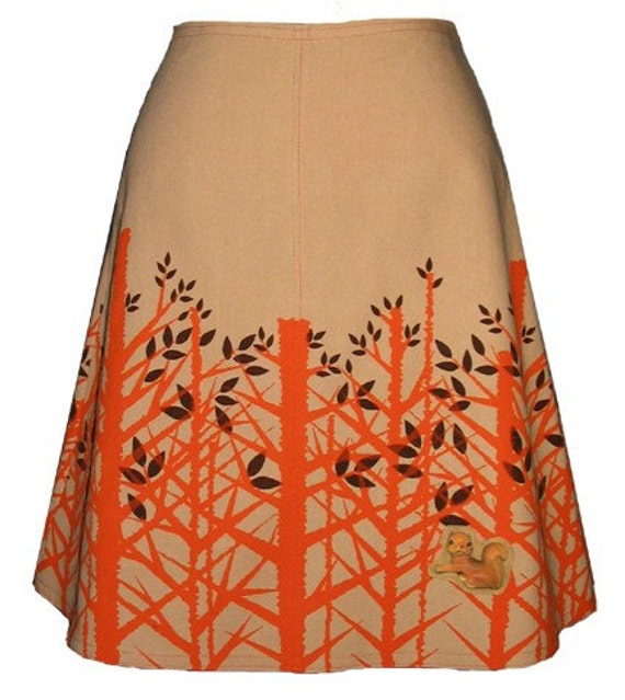 treetop skirt - fawn tan - spring forest hand screen print with cute squirrel brooch
