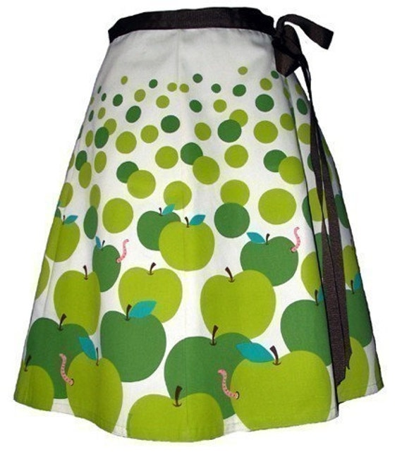apple pickin' skirt - granny smith - cute hand screen printed playful polkadot wrap-around
