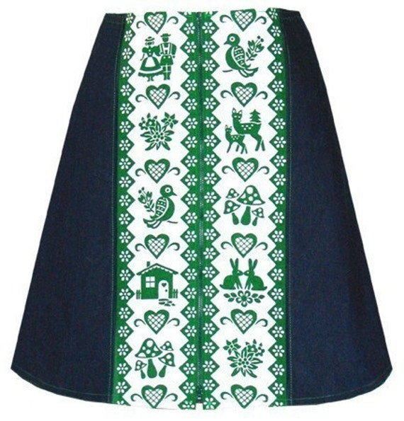 favorite things skirt - green and indigo - hand screen print with cute toadstools, edelweiss and other alpine motifs