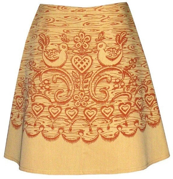 wood carving skirt - golden oak - carved wood print with folk birds, hearts and berries