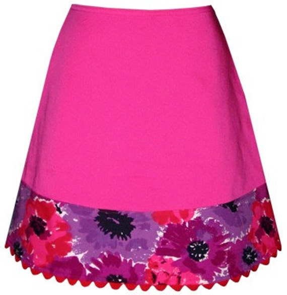 may flowers skirt - with hot pink, red and purple vintage floral print