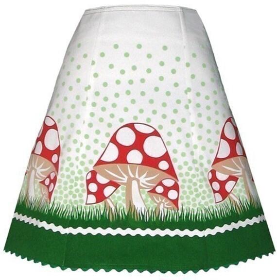 toadstool skirt - red and green - fanciful polka dot mushroom print