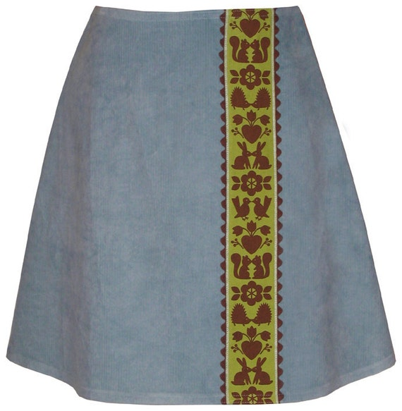 kissin' kritters skirt - ocean blue - corduroy with smooching woodland creatures