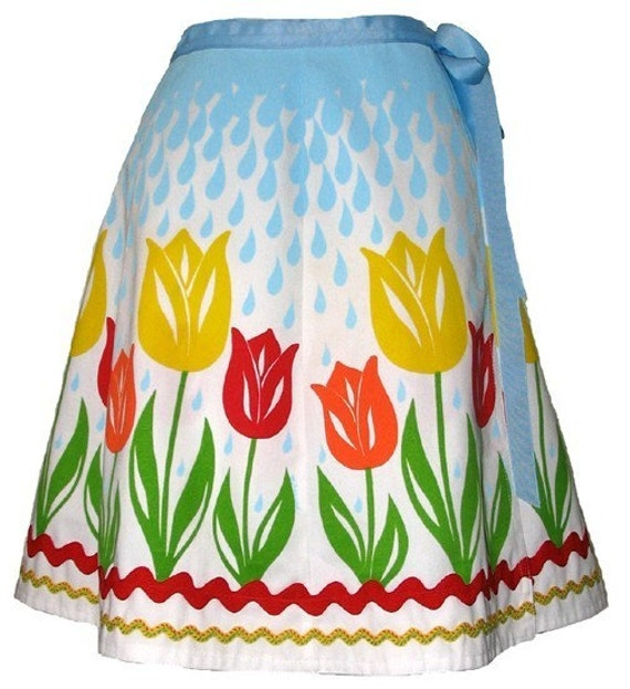 april showers skirt - warm - raindrops and cute tulips hand screen print
