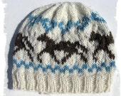 Hand knit Hat - Trotting Horses - made with my homegrown Alpaca Yarn - Medium